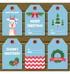 Collection of six Christmas gift tags vector image