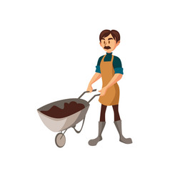 male farmer with wheelbarrow of earth gardener at vector image