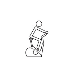 stationary bicycle line icon exercise bike vector image