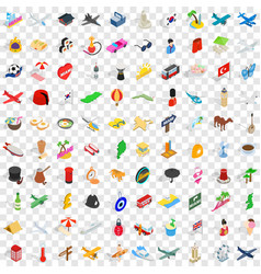 100 touring icons set isometric 3d style vector image vector image