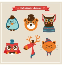 Cute fashion Hipster Animals pets vector image