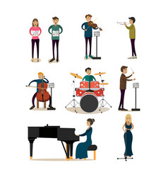 flat icons set of symphony orchestra people vector image vector image