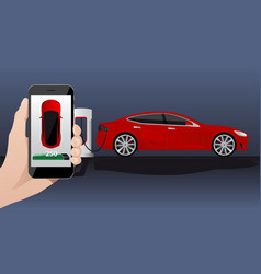 hand with phone on a background of electric car vector image vector image