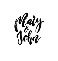 mary and john modern brush calligraphy vector image vector image