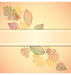 Ornamental background with art autumn leaves and vector image