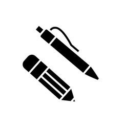 pen and pencil icon black vector image vector image