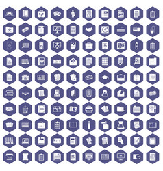 100 document icons hexagon purple vector