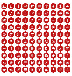 100 exotic animals icons hexagon red vector image