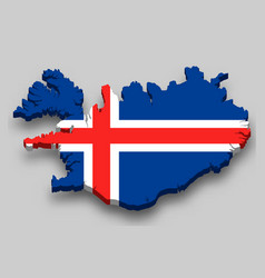 3d isometric map iceland with national flag vector image