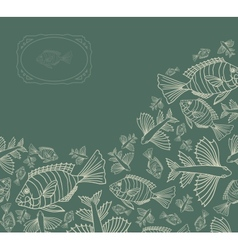 Abstract template for greeting card with fishes vector image