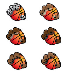 Basketball Animal Claw Icon Set vector image