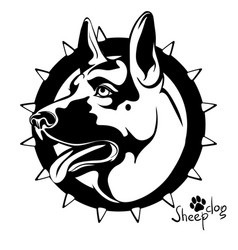 black and white image of a dog s head to guard vector image