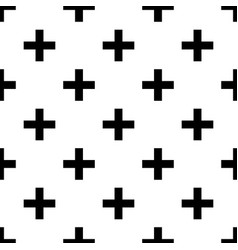 black crosses on white seamless pattern vector image