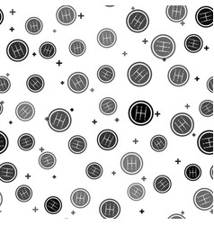 Black gear shifter icon isolated seamless pattern vector