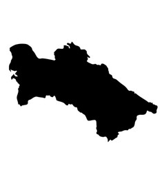 black silhouette country borders map of turkmenia vector image