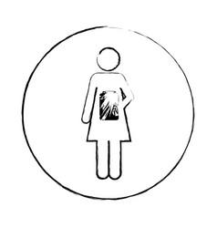 Blurred circular frame silhouette pictogram female vector