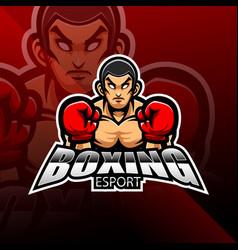 boxing esport mascot logo design vector image