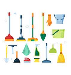 broom pictures hygiene cleaning service items vector image