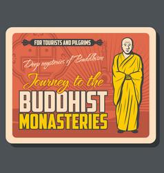 Buddhism religion buddha monk swastika and stupa vector
