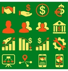 Business charts and bank icons vector