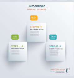 Business infographics template 3 steps vector