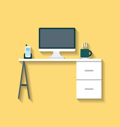 Businesswoman and businessman desk vector