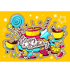 cake with candle sweets and cup of tea w vector image