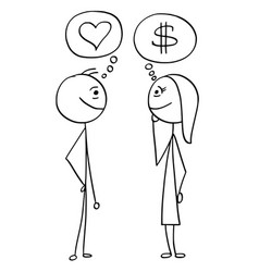 cartoon of man and woman talking about money and vector image