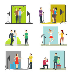 cartoon photo studio set vector image