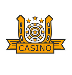 Casino poker gambler roulette and golden horseshoe vector