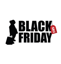 child silhouette with black friday vector image