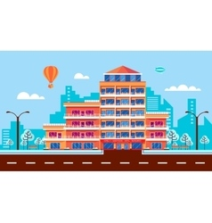 city street with hotel apartments apartment vector image