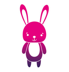 Color silhouette cute and happy rabbit wild animal vector