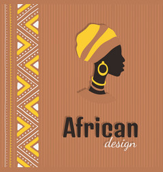 Colorful african style card with woman silhouette vector