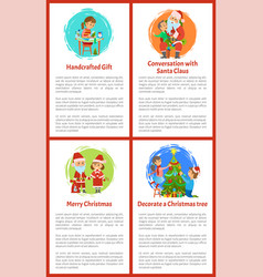 Conversation with santa claus merry christmas vector