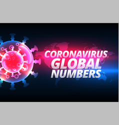 coronavirus cases global number background vector image