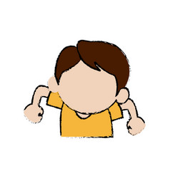 Cute boy character comic young happy icon vector