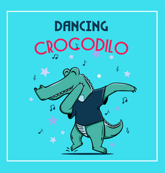 Cute dancing cartoon doodle crocodile vector