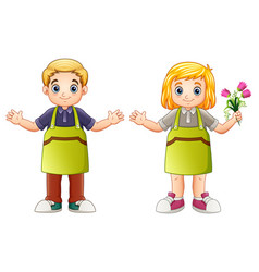 cute florist children vector image