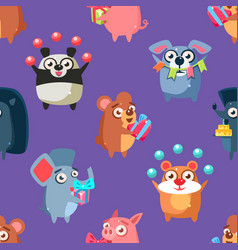 cute funny circus animals seamless pattern vector image