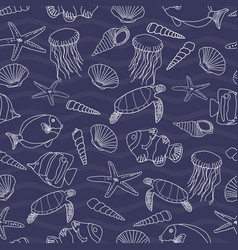 cute hand drawn sea life seamless pattern vector image