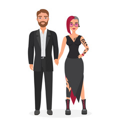 Cute original couple man and woman character flat vector