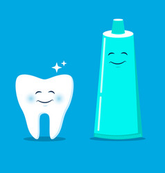 cute tooth with cartoon toothpaste vector image