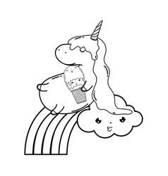 cute unicorn with clouds and rainbow kawaii vector image