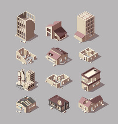 destroyed buildings damaged urban isometric vector image