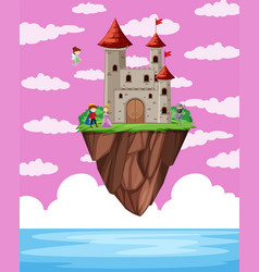 fatasy castle obove ocean vector image