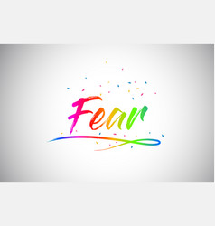 fear creative vetor word text with handwritten vector image