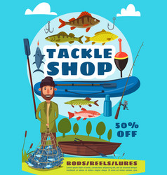 fishing sport and tackle shop poster with fisher vector image