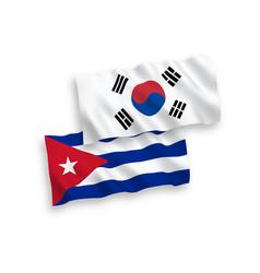 Flags south korea and cuba on a white vector
