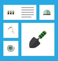 Flat icon garden set of cutter trowel hosepipe vector
